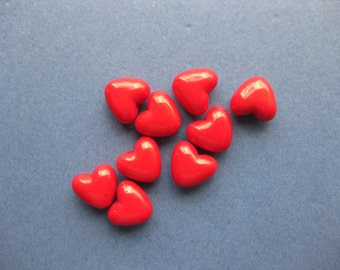 25 Heart Beads - Red Heart Beads - Red Hearts - Hearts - Red Beads - Acrylic Beads - 11mm x 10mm -- (No.34-10559)