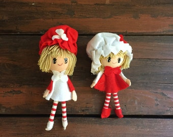 1970's Two Doll Ornaments / Christmas Tree Decorations