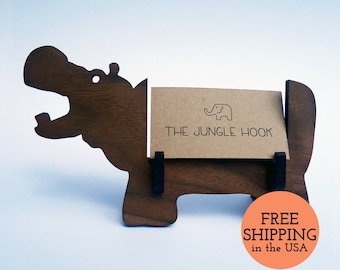 Hippo business card holder for desk - great handmade office gift, business card stand, desk accessories