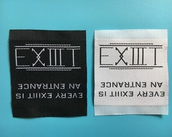 1000 Custom clothing label, side woven label, loop fold, damask woven label, fabric label