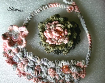 Handmade necklace - handmade brooch- Crochet Jewelry - Hand knitted brooch, Floral Textile necklace