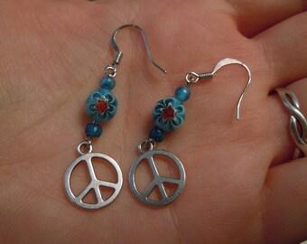 Flower Power Peace Earrings Blue Daisy Boho Hippie