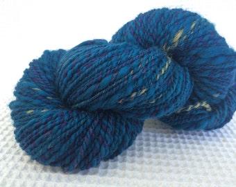 Hand Spun Hand Dyed Yarn / 2 ply / merino wool / purple / blue