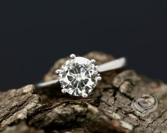 Amy Certified 7mm/1.25 Carats Round Cut Forever One G-H Color Moissanite 14K White Gold Engagement Ring (Bridal Wedding Set Available)