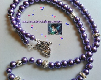 Purple Necklace With A Little Bit Of Silver and Rinestones  N#985  One of A Kind!