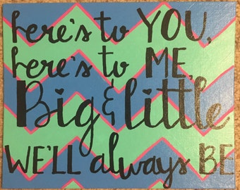 """Canvas panel """"here's to you, here's to me, big and little we'll always be"""""""