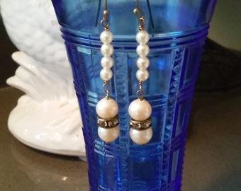 Vintage Glass Pearl Drop Earrings
