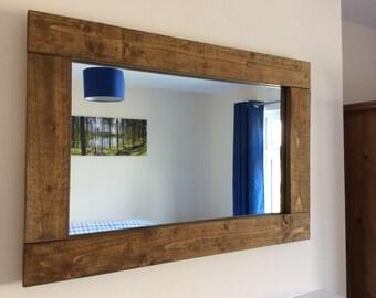 Rustic handcrafted reclaimed wooden mirror in oak wax