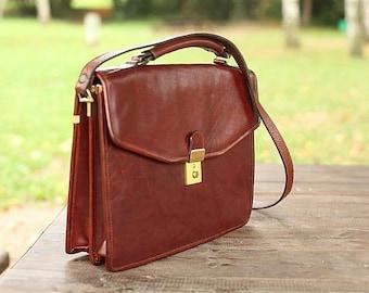 Vintage leather bag , Shoulder brown bag