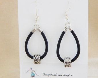 Black Leather and Silver Earrings (E33)