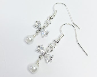 White Pearl Earrings Sparkly Bridal Earrings Pretty Bridesmaid Gift Dainty Cubic Zirconia Earrings Silver Bow Earrings Mother of the Bride
