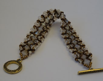 White Crystals and Brown Seed Beads Woven Bracelet