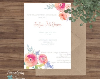 watercolor floral bridal shower printable invitation