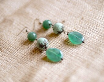 Mint earrings Felt earrings Jade earrings Gypsy earrings Boho Simple earrings Chunky earrings Hippie earrings Eco friendly Felt Wool jewelry