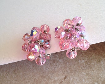 Pink Laguna, dangly, cluster earrings.