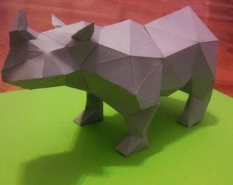 DIY 3D Papercraft Rhino - PDF, Printable Model, Template