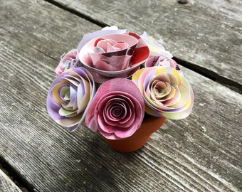 Pink Roses - Flower Pot - Recycled Flowers