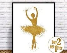 SALE: Ballerina Decor, Ballerina Print, Ballerina Poster, Gold Wall Decor, Gold Art Print, nursey decor girl, childrens posters, Baby