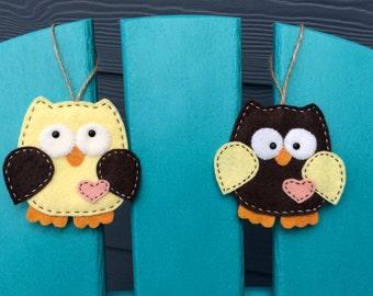 Owl ornament, wool felt, hanging decoration
