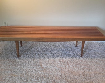 Mid Century Danish Modern Wood Slat Coffee Table