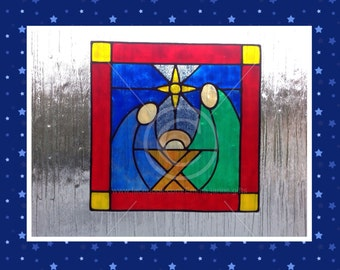 Nativity window cling Christmas decoration, glass & window areas, reusable faux stained glass effect decal, static cling suncatcher decals