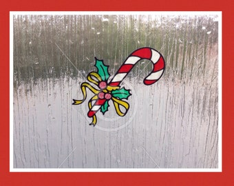 Candy Cane window cling Christmas design for glass & window areas, reusable faux stained glass effect decal, static cling suncatcher decals
