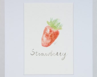 Strawberry in watercolor matted 8x10