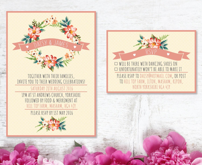 Wedding Invite Templates Uk: Rustic Wedding Invitation Template UK By BlushBlossomDesign