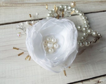 Fabric Flower Corsage, Wrist Corsage, Wedding Corsage, Pearl Bracelet, Corsage - Made to order