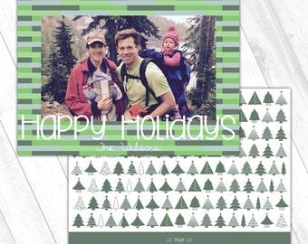 Holiday Photo Card (5x7) - Happy Holidays Rectangle Pattern