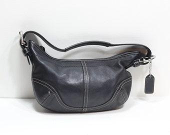 Vintage Coach Black Leather Small Hobo Bag