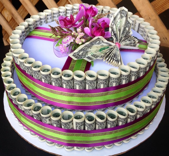 Money cake made with 100 dollars real money for birthday or any ...