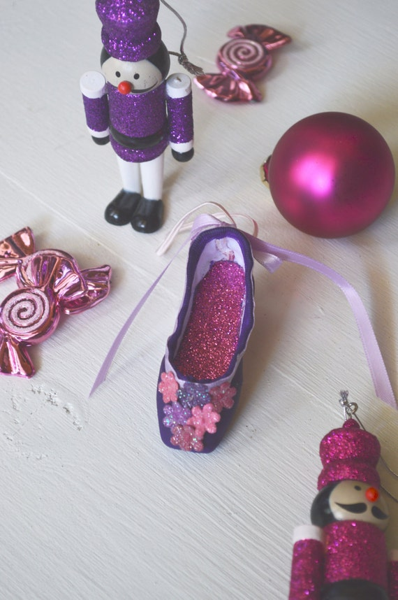 Items similar to sugar plum ornament pointe shoe for Ballet shoes christmas decoration