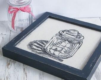 Framed Wood Picture, Antique Mason Jar Print, Wood Wall Art, Kitchen Decor, Shabby Chic, Rustic Style, Hostess Gift, Farmhouse Decor