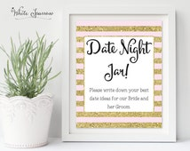 Date Night Jar Sign, Gold Bridal Shower Sign. Bridal Shower Decorations. Gold Bridal Shower. Date Night Jar Ideas, Date Ideas Sign