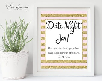 Date Night Jar Sign, Gold Bridal Shower Sign. Bridal Shower Decorations. Gold Bridal Shower. Date Night Jar Ideas, Date Ideas Sign