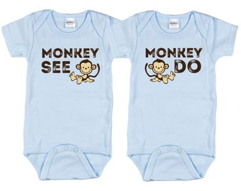 Boy Twins, Monkey See Monkey Do, Twin Boys, Twin Baby Shower Gift, sizes from 0 to 12 months, Twin Gifts