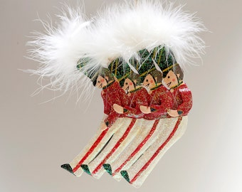 4 Red and White Drummer Boys Marching - Decoration / Ornament - Furry Top Hats