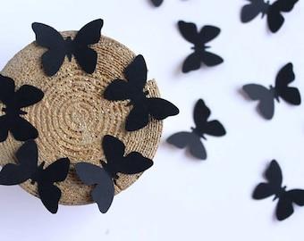Black butterflies, Paper Butterfly Die Cuts, Black Confetti, Black Wall Decoration, Halloween Decoration, Butterfly Cut Outs