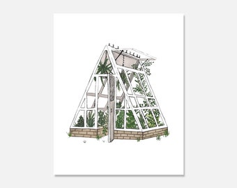 Greenhouse Art Print, Decorative Wall Art, Urban Jungle, Greenhouse Gardening, Greenhouse Designs, Greenhouse Structures