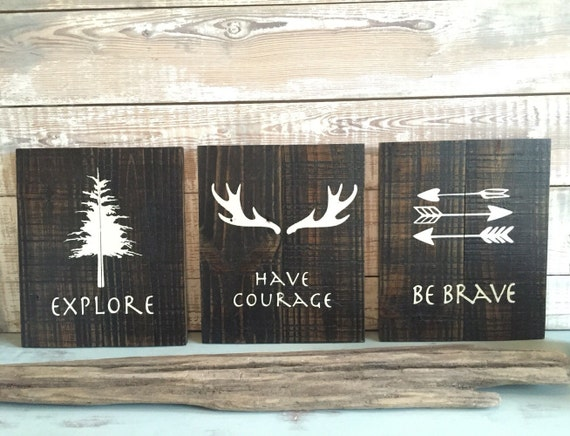 Rustic Wall Decor Set : Rustic wall decor set of three be brave explore have