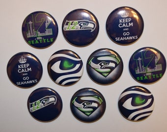 """Seattle Seahawks bottlecap image 1"""" buttons, flatback, pin, or magnet. Set of 10"""