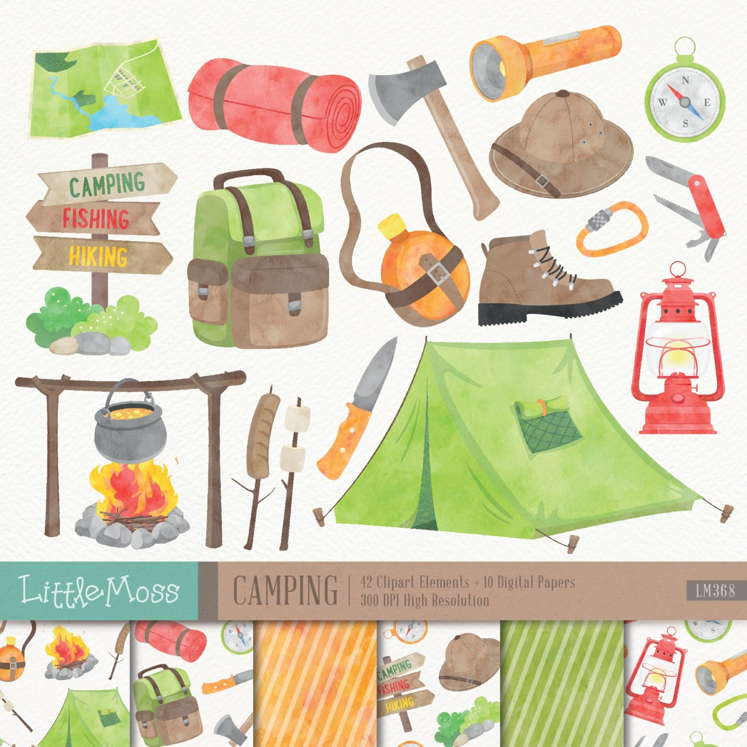 Camping clipart | Etsy