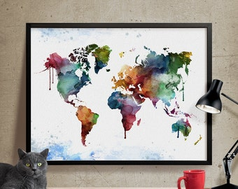 World map wall art prints large art poster map watercolor art watercolor world map world map art print world map wall art large wall gumiabroncs Image collections