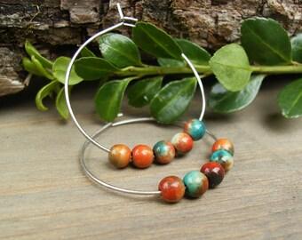 Multicolor Hoop Earrings, Fossil Stone Earrings, Orange and Turquoise Earrings, Colorful Hoop Earrings, Fun Hoop Earrings, Gemstone Hoops