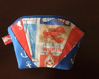 Quilted zipper Cosmetic Bag - Nautical theme