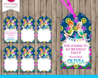 Personalised Frozen Fever Favour Tags - DIY Printable
