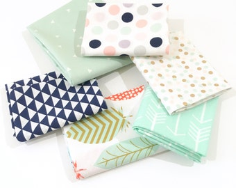Boho Navy Fabric Bundle - Geometric Charm Pack of 4 Premium Cotton Fat Quarters with Navy, Mint, Coral and Gold Cotton Fabrics