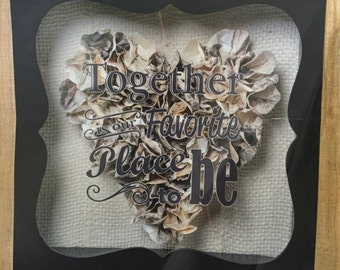 Rustic Chic Heart Shadow Box Keepsake Wedding Anniversaries Engagement Valentines Sweetheart