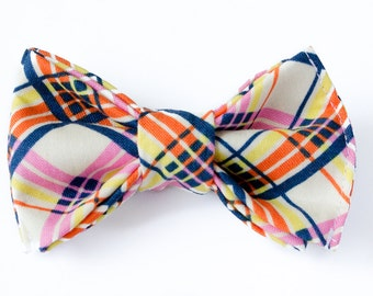Orange Bow Ties for Boys - Pre-tied Bow Ties - Kids Bow Ties - Toddler Bow Tie - Baby Bow Ties -Boys Bow Tie - Plaid Bow Tie for Baby